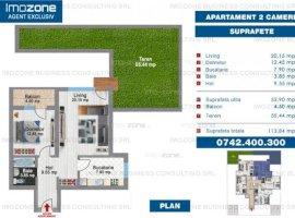 Apartament cu curte proprie, suprafata utila 58 mp + curte 55mp, COMISION 0%.
