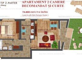 Apartament 2 camere decomandat Pacii/Metrou + curte 27 mp