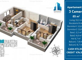 Apartament 3 Camere Super Spatios 85mp, Militari,Iuliu Maniu