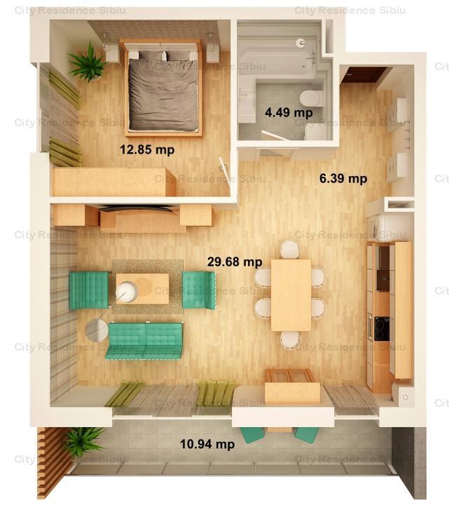 Apartament 2 camere | Arena Village | Parter inalt | Tip 3
