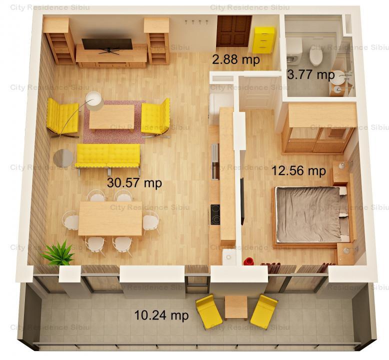 Apartament 2 camere | 49.53 mp | Etaj 1 | Imobil 12