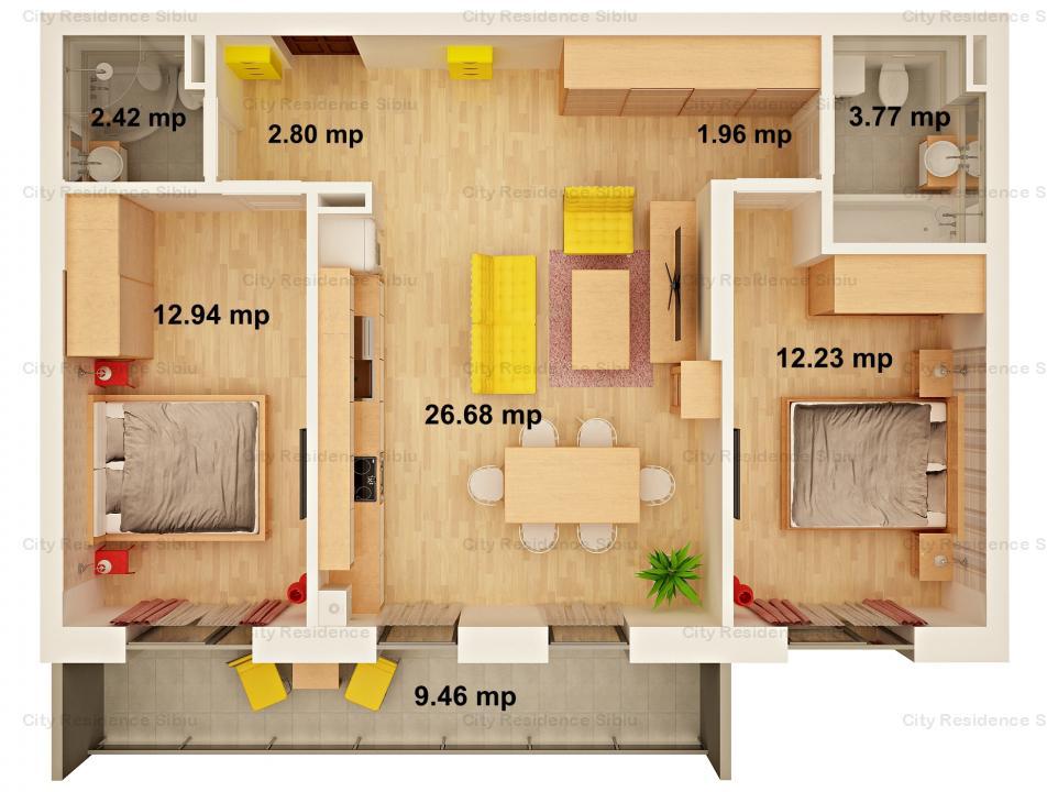 Apartament 3 camere | 63 mp | Predare 2020