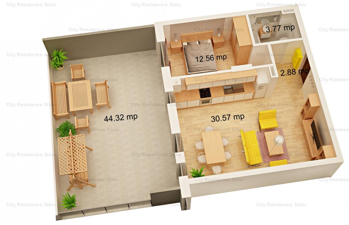 Apartament 2 camere | 49 mp | Terasa de 44 mp