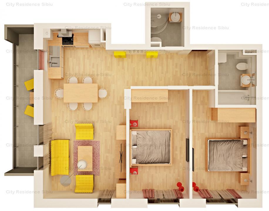 Apartament 3 camere | Imobil 12 A | Mezanin